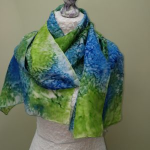 Blue/green silk scarf