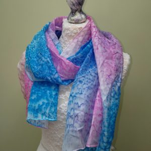 Cyan/Rose silk scarf