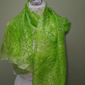 Leaf green silk scarf. Medium scarf.