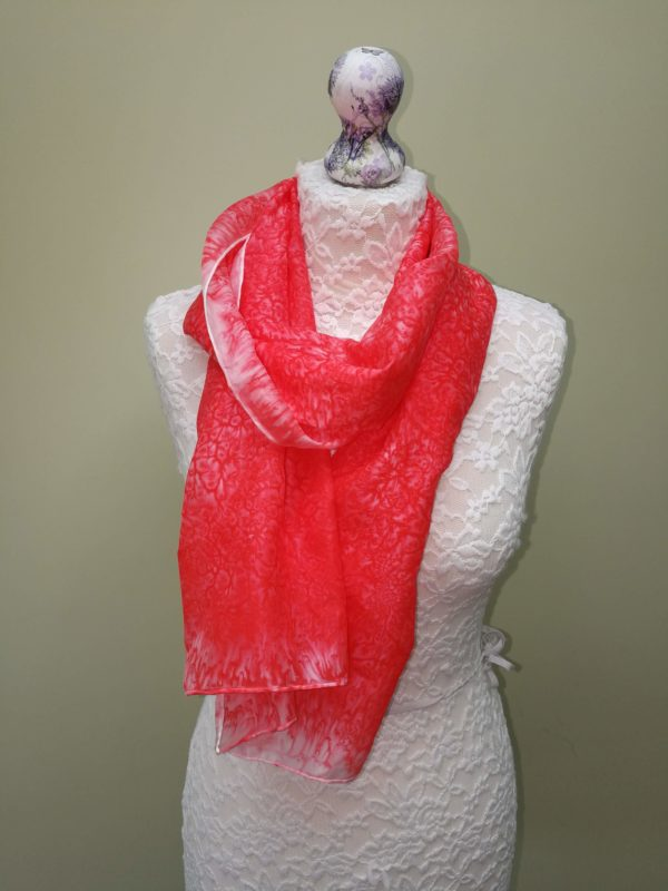 Coral/red  silk scarf. Medium size.