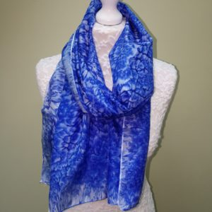 Blue silk scarf. Medium size.