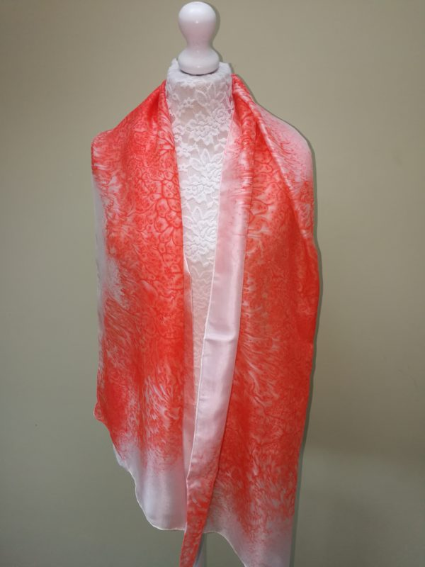 Coral lightweight delicate silk scarf. Medium scarf.