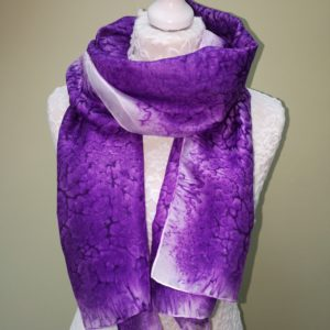 Iris /purple silk scarf. Medium scarf.