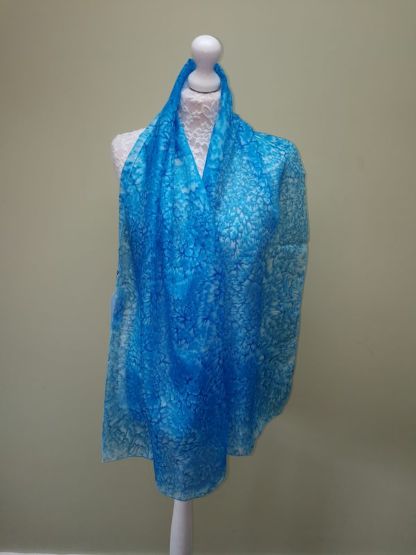 Cyan silk scarf. Medium scarf.