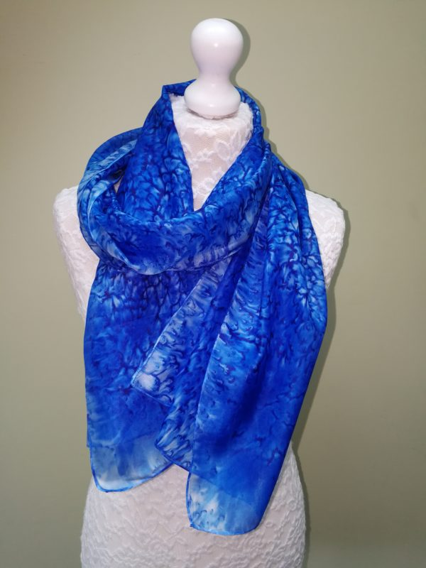 Deep blue silk scarf. Medium scarf.