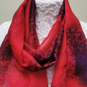 Red with blue small silk scarf.