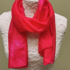 Red/deep pink small silk scarf.