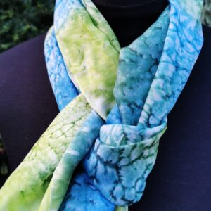 Blue/green silk scarf. Medium size.