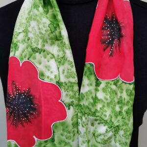 Red on Green Poppy scarf
