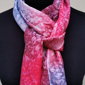 Red and blue long medium scarf