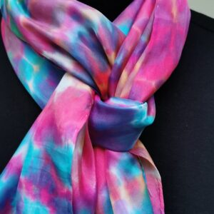 Multi coloured tie dyed long scarf