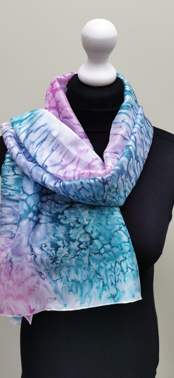 Large long silk scarf. Teal and pink salt effect.