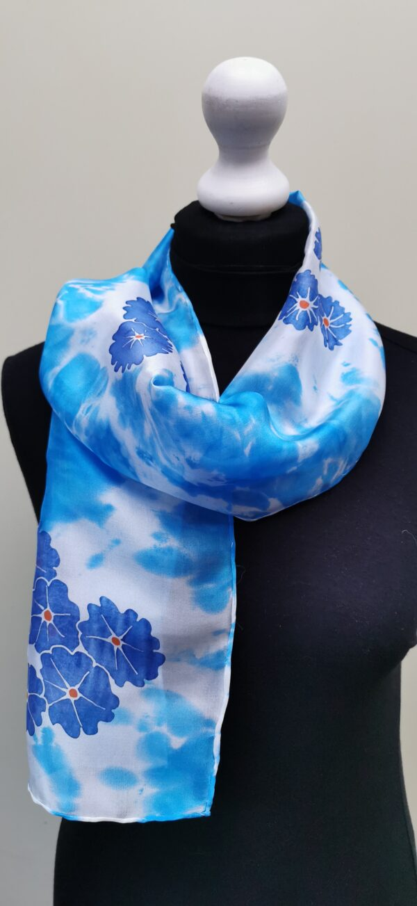 Blue scarf with Forgetmenots. Small long silk scarf.