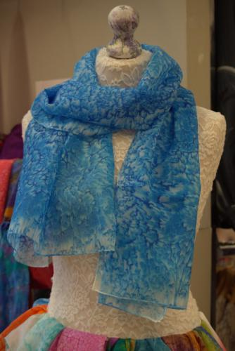 Blue scarf on mannequin